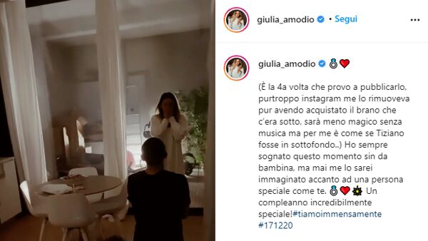 Un frame del video postato su Instagram